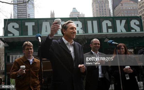 Starbucks Corp Chairman and Chief Executive Howard Schultz toasts at the launch of their new 'everyday' brew Pikes Place Roast in Bryant Park April 8...