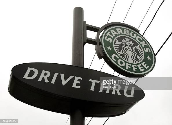Starbucks drivethru sign is seen outside its store December 28 2005 in Wheeling Illinois Starbucks opened 354 drivethru stores in the US in the past...