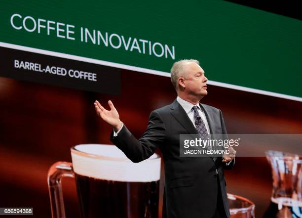 Starbucks President and Chief Operating Officer Kevin Johnson announces new glutenfree menu items at the Annual Meeting of Shareholders at McCaw Hall...