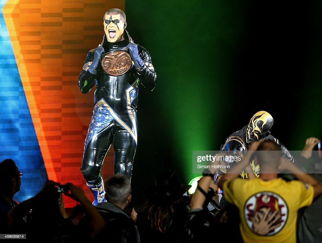 Stardust and Goldust react during WWE Live 2014 at Festhalle on November 15 2014 in Frankfurt am Main Germany