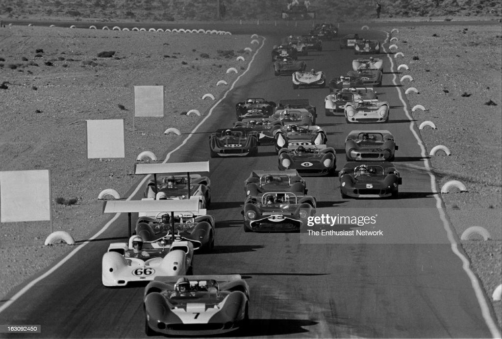 Stardust Grand Prix CanAm Las Vegas The racing field drives down a straightaway