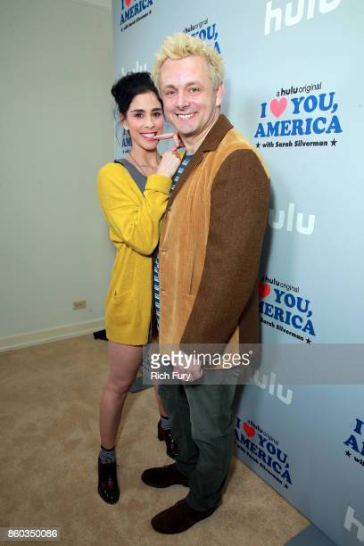 Star/Executive Producer Sarah Silverman and actor Michael Sheen attend the 'I Love You America' Premiere Party at Chateau Marmont on October 11 2017...