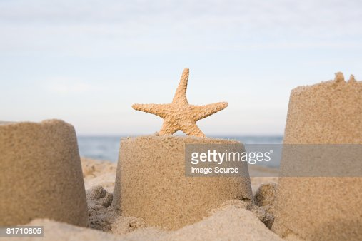 Starfish and a sand castle