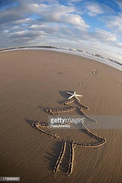 Étoile de mer Décoration en haut du sapin coucher du soleil, sable