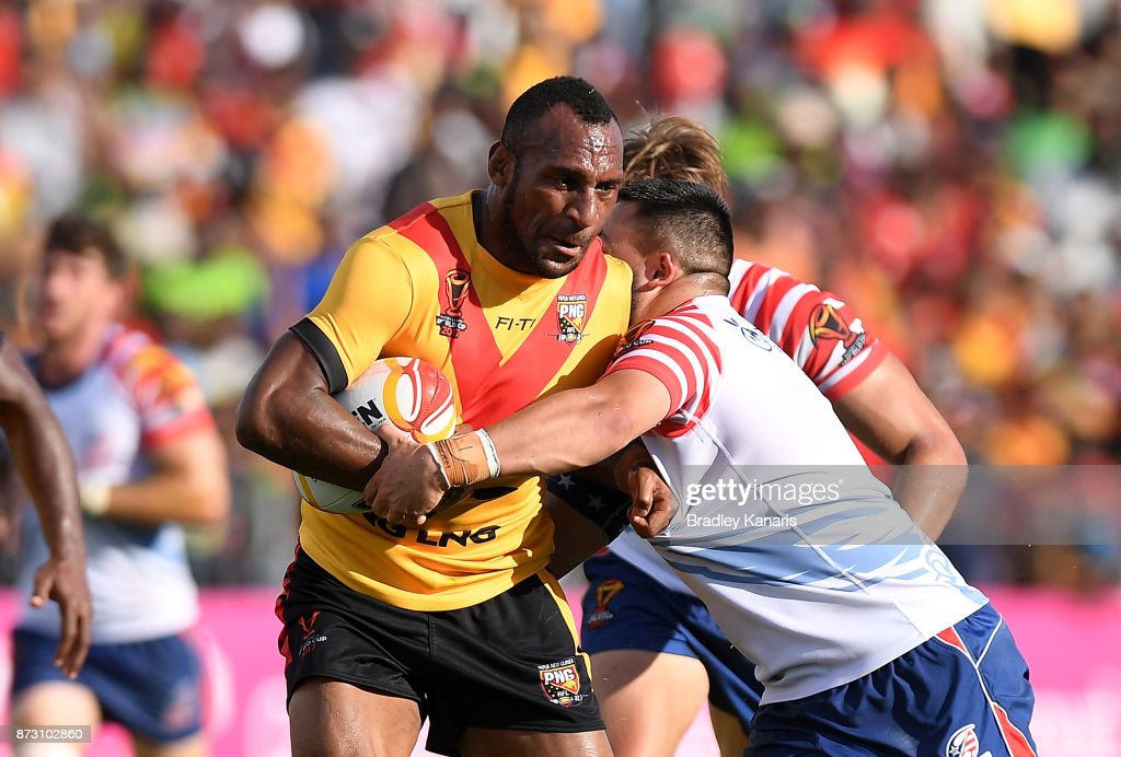 Stargroth Amean of Papua New Guinea takes on the defence during the 2017 Rugby League World Cup match between Papua New Guinea and the United States on November 12, 2017 in Port Moresby, Papua New Guinea.