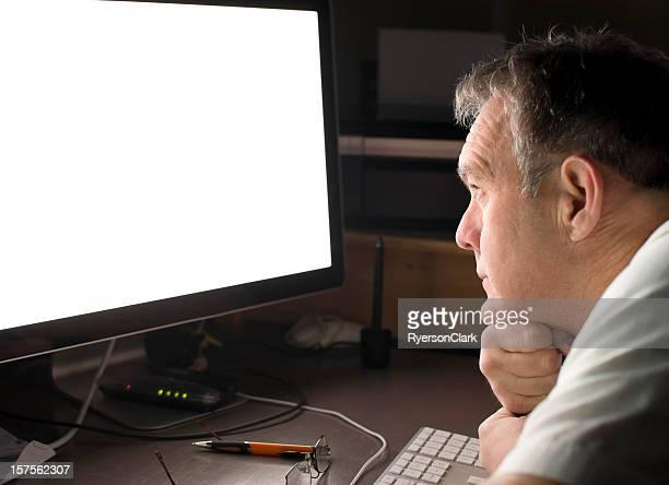 Staring at a Monitor, Blank Computer Screen.