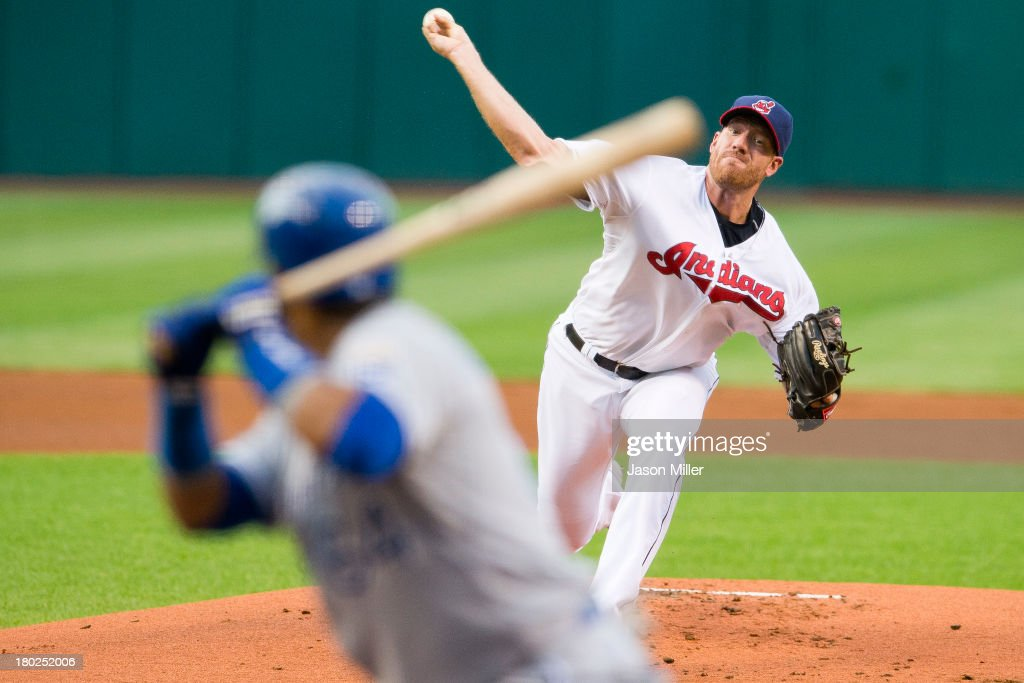 Staring pitcher <a gi-track='captionPersonalityLinkClicked' href=/galleries/search?phrase=Zach+McAllister&family=editorial&specificpeople=6816291 ng-click='$event.stopPropagation()'>Zach McAllister</a> #34 of the Cleveland Indians pitches to <a gi-track='captionPersonalityLinkClicked' href=/galleries/search?phrase=Emilio+Bonifacio&family=editorial&specificpeople=4193706 ng-click='$event.stopPropagation()'>Emilio Bonifacio</a> #64 of the Kansas City Royals during the first inning at Progressive Field on September 10, 2013 in Cleveland, Ohio.