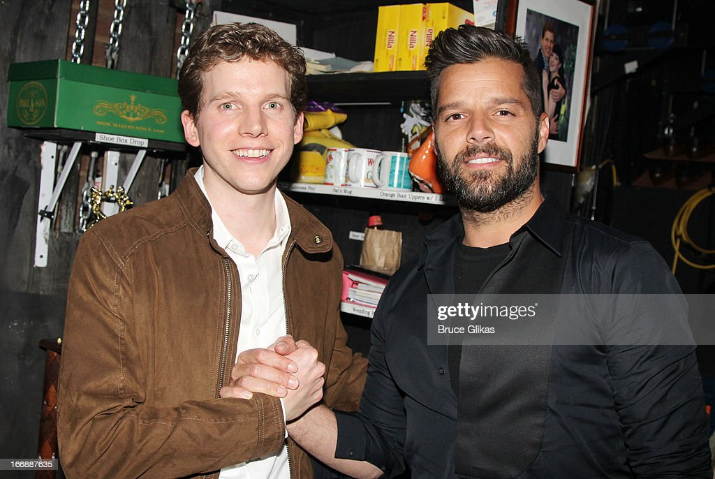 Stark Sands as 'Charlie' and Ricky Martin pose backstage at the hit musical 'Kinky Boots' on Broadway at The Al Hirshfeld Theater on April 17, 2013 in New York City.