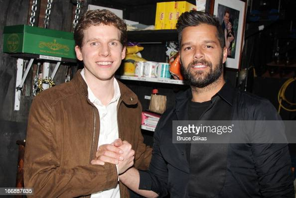 Stark Sands as 'Charlie' and Ricky Martin pose backstage at the hit musical 'Kinky Boots' on Broadway at The Al Hirshfeld Theater on April 17 2013 in...