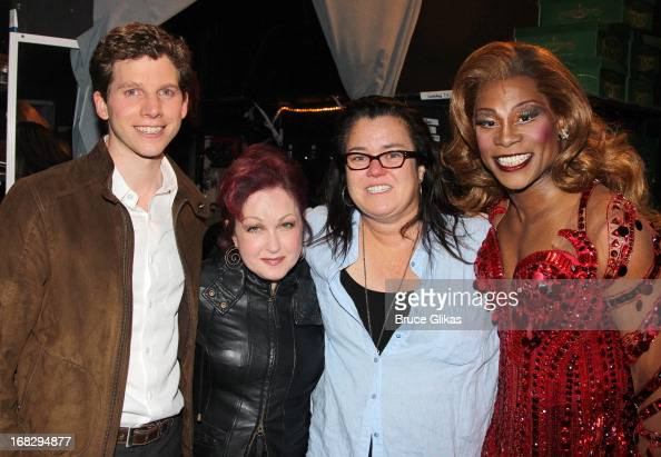 Stark Sands as 'Charlie' Cyndi Lauper Rosie O'Donnell and Billy Porter as 'Lola' pose backstage at the Tony Nominated musical 'Kinky Boots' on...