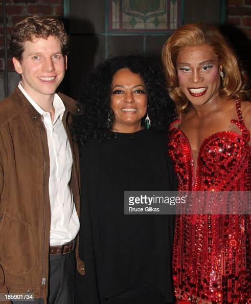 Stark Sands as 'Charlie' Diana Ross and Billy Porter as 'Lola' pose backstage at 'Kinky Boots' on Broadway at The Al Hirshfeld Theater on October 25...