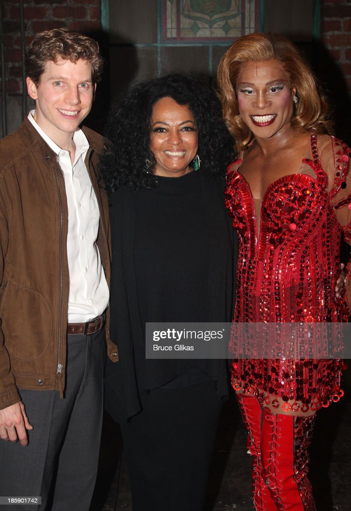 Stark Sands as 'Charlie' , Diana Ross and Billy Porter as 'Lola' pose backstage at 'Kinky Boots' on Broadway at The Al Hirshfeld Theater on October 25, 2013 in New York City.
