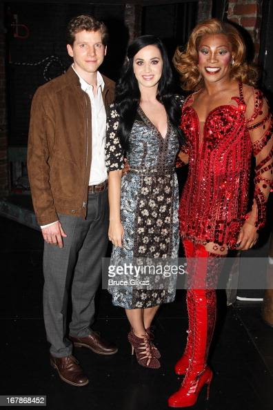 Stark Sands as 'Charlie' Katy Perry and Billy Porter as 'Lola' pose backstage at the Tony Nominated hit musical 'Kinky Boots' on Broadway at The Al...