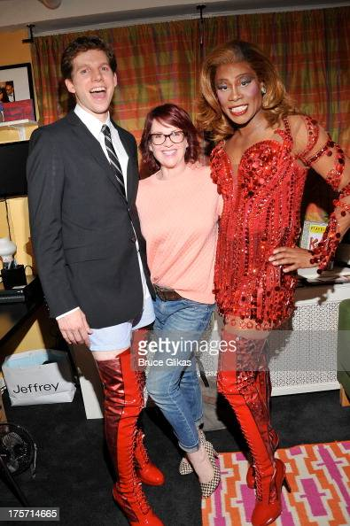 Stark Sands as 'Charlie' Megan Mullally and Billy Porter as 'Lola' pose backstage at the hit musical 'Kinky Boots' on Broadway at The Al Hirshfeld...