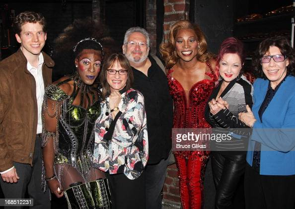 Stark Sands as 'Charlie' Patti LuPone Harvey Fierstein Billy Porter as 'Lola' Cyndi Lauper and Lily Tomlin pose backstage at the hit musical 'Kinky...