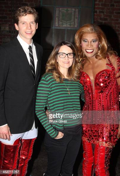 Stark Sands as 'Charlie' Tina Fey and Billy Porter as 'Lola' pose backstage at 'Kinky Boots' on Broadway at The Al Hirshfeld Theater on November 26...