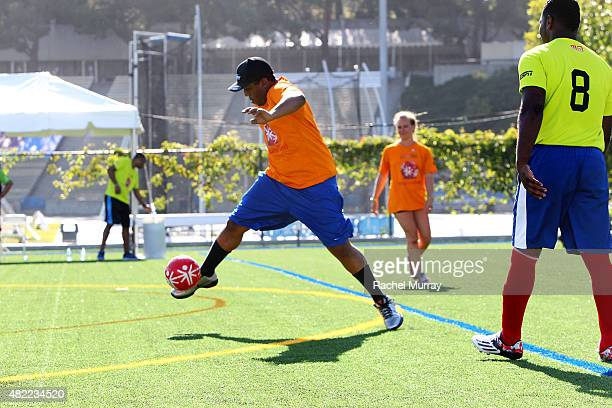 Starkey Hearing Foundation Ambassador Chris Massey participates in The Special Olympics Unified Sports Experience Football Game at UCLA on July 28...