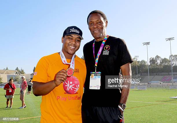 Starkey Hearing Foundation ambassadors Chris Massey and Olympic gold medalist Rafer Johnson participate in The Special Olympics Unified Sports...