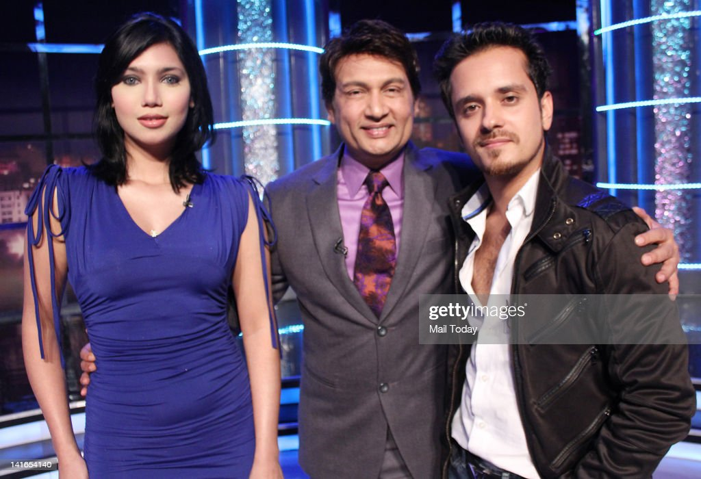 Starlet Nupur Mehta on the sets of Movers and Shakers with Shekhar Suman in Mumbai.