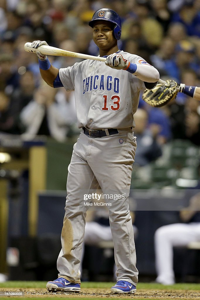 <a gi-track='captionPersonalityLinkClicked' href=/galleries/search?phrase=Starlin+Castro&family=editorial&specificpeople=5970945 ng-click='$event.stopPropagation()'>Starlin Castro</a> #13 of the Chicago Cubs clinches his bat after striking out at the plate during the top of the seventh inning against the Milwaukee Brewers at Miller Park on April 19, 2013 in Milwaukee, Wisconsin.
