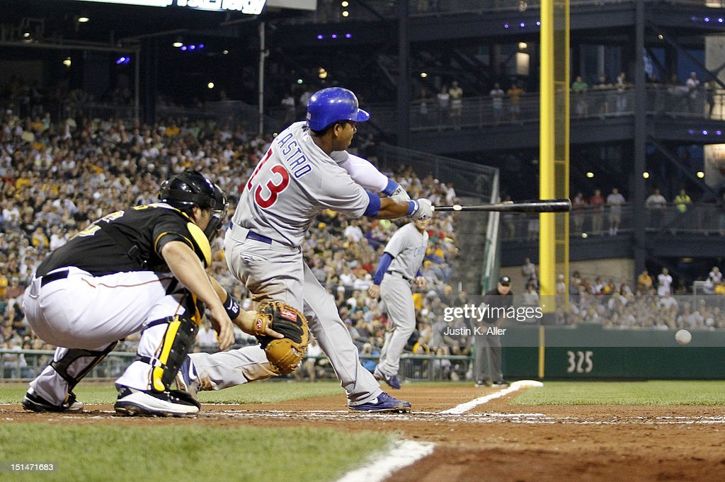 <a gi-track='captionPersonalityLinkClicked' href=/galleries/search?phrase=Starlin+Castro&family=editorial&specificpeople=5970945 ng-click='$event.stopPropagation()'>Starlin Castro</a> #13 of the Chicago Cubs hits a two-RBI single in the third inning against the Pittsburgh Pirates during the game on September 7, 2012 at PNC Park in Pittsburgh, Pennsylvania.
