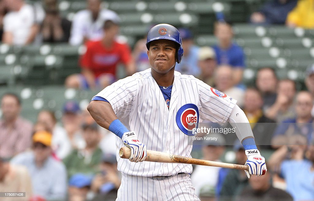 <a gi-track='captionPersonalityLinkClicked' href=/galleries/search?phrase=Starlin+Castro&family=editorial&specificpeople=5970945 ng-click='$event.stopPropagation()'>Starlin Castro</a> #13 of the Chicago Cubs reacts after striking out during the ninth inning against the Milwaukee Brewers at Wrigley Field on July 30, 2013 in Chicago, Illinois. The Brewers defeated the Cubs 6-5.