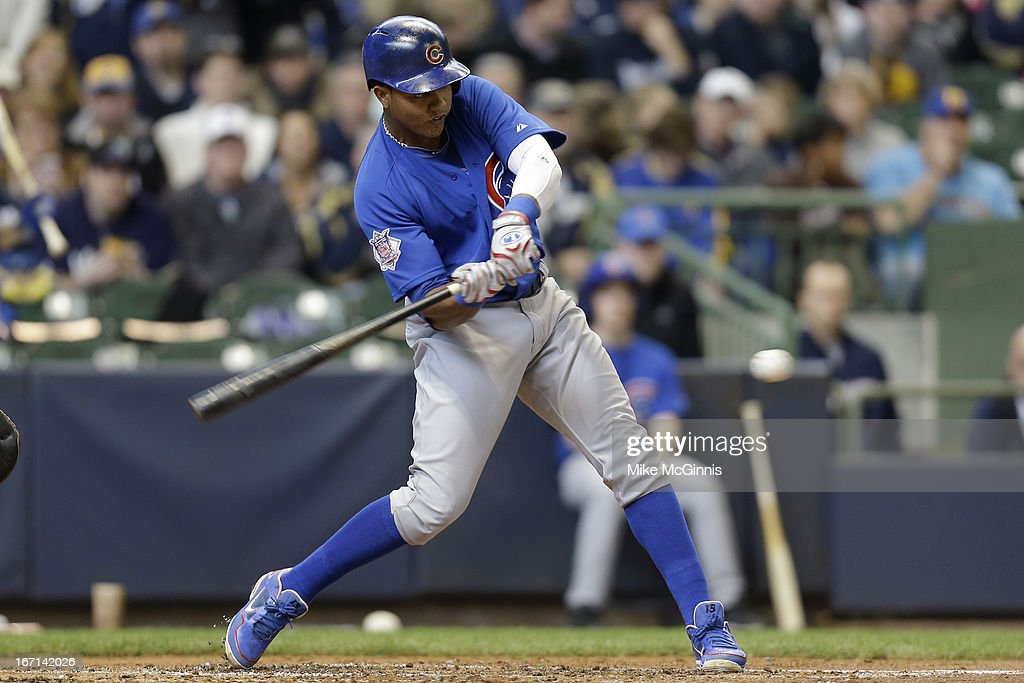 <a gi-track='captionPersonalityLinkClicked' href=/galleries/search?phrase=Starlin+Castro&family=editorial&specificpeople=5970945 ng-click='$event.stopPropagation()'>Starlin Castro</a> #13 of the Chicago Cubs singles off this pitch in the top of the third inning against the Milwaukee Brewers at Miller Park on April 21, 2013 in Milwaukee, Wisconsin.