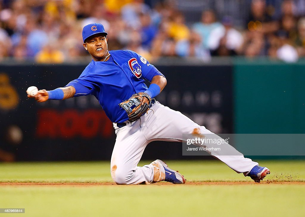 <a gi-track='captionPersonalityLinkClicked' href=/galleries/search?phrase=Starlin+Castro&family=editorial&specificpeople=5970945 ng-click='$event.stopPropagation()'>Starlin Castro</a> #13 of the Chicago Cubs throws from his knees in the fourth inning against the Pittsburgh Pirates during the game at PNC Park on August 4, 2015 in Pittsburgh, Pennsylvania.