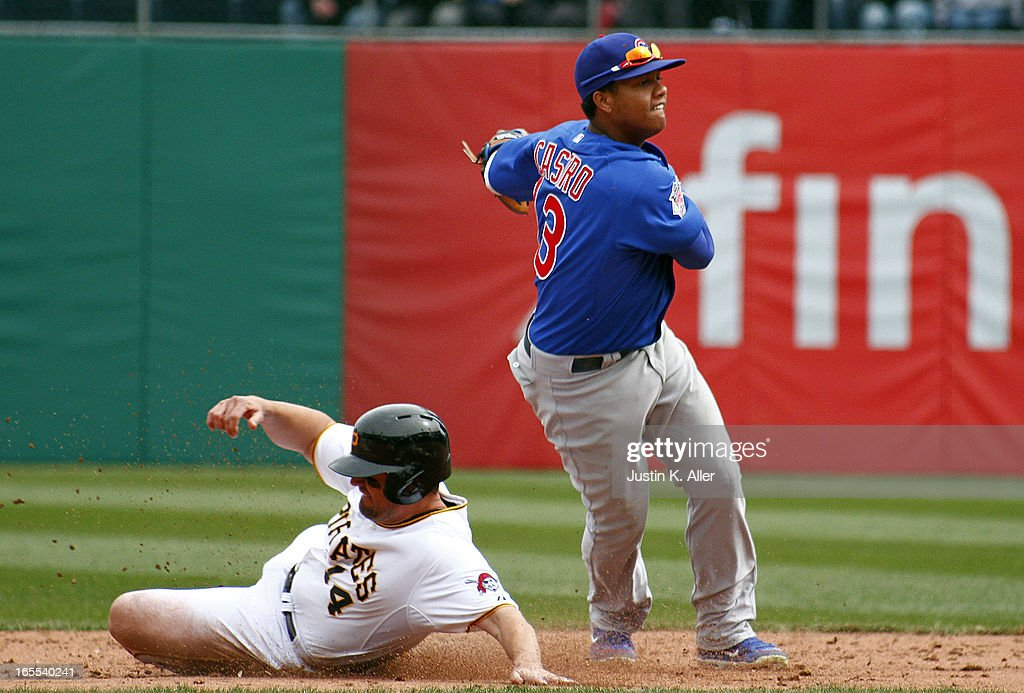 <a gi-track='captionPersonalityLinkClicked' href=/galleries/search?phrase=Starlin+Castro&family=editorial&specificpeople=5970945 ng-click='$event.stopPropagation()'>Starlin Castro</a> #13 of the Chicago Cubs turns a double play to end the game in front of <a gi-track='captionPersonalityLinkClicked' href=/galleries/search?phrase=Gaby+Sanchez&family=editorial&specificpeople=4945789 ng-click='$event.stopPropagation()'>Gaby Sanchez</a> #14 of the Pittsburgh Pirates during the game on April 4, 2013 at PNC Park in Pittsburgh, Pennsylvania. The Cubs defeated the Pirates 3-2.