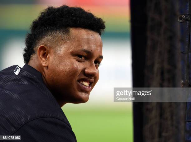 Starlin Castro of the New York Yankees is seen by the batting cage before Game 6 of the American League Championship Series against the Houston...