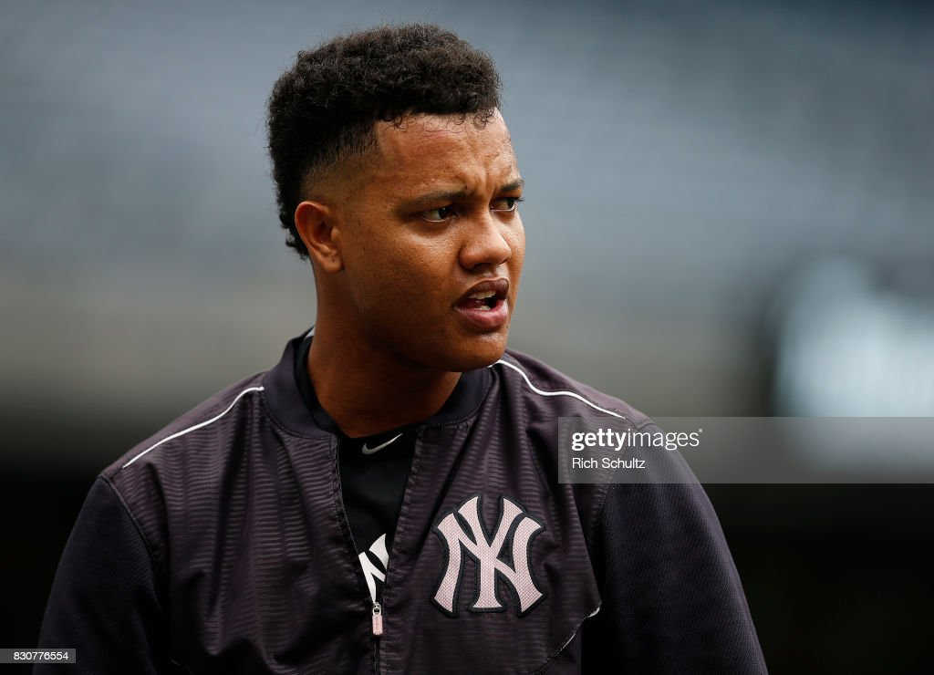 Starlin Castro #14 of the New York Yankees looks on before a game against the Boston Red Sox at Yankee Stadium on August 12, 2017 in the Bronx borough of New York City.