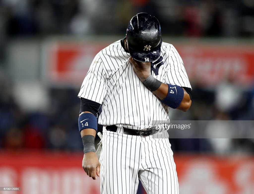 Starlin Castro #14 of the New York Yankees reacts to the loss to the Chicago White Sox on April 18, 2017 at Yankee Stadium in the Bronx borough of New York City.The Chicago White Sox defeated the New York Yankees 4-1.