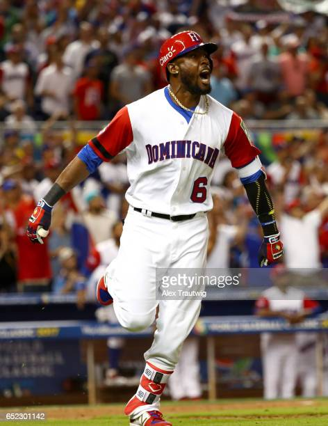 Starling Marte of Team Dominican Republic reacts to hitting a solo home run in the eigth inning during Game 4 Pool C of the 2017 World Baseball...
