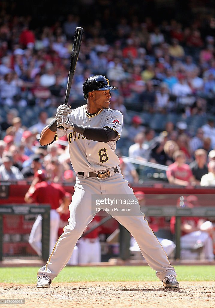 <a gi-track='captionPersonalityLinkClicked' href=/galleries/search?phrase=Starling+Marte&family=editorial&specificpeople=7934200 ng-click='$event.stopPropagation()'>Starling Marte</a> #6 of the Pittsburgh Pirates bats against the Arizona Diamondbacks during the MLB game at Chase Field on April 10, 2013 in Phoenix, Arizona. The Diamondbacks defeated the Pirates 10-2.