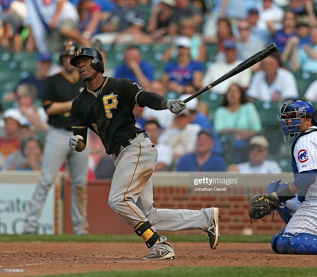 <a gi-track='captionPersonalityLinkClicked' href=/galleries/search?phrase=Starling+Marte&family=editorial&specificpeople=7934200 ng-click='$event.stopPropagation()'>Starling Marte</a> #6 of the Pittsburgh Pirates bats against the Chicago Cubs at Wrigley Field on July 5, 2013 in Chicago, Illinois. The Pirates defeated the Cubs 6-2.