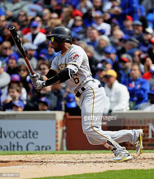 Starling Marte of the Pittsburgh Pirates breaks up a no hit bid by Jon Lester of the Chicago Cubs with a single in the 7th inning at Wrigley Field on...