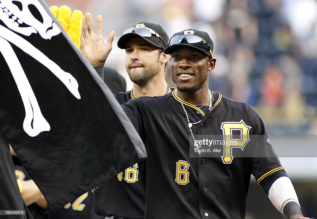 <a gi-track='captionPersonalityLinkClicked' href=/galleries/search?phrase=Starling+Marte&family=editorial&specificpeople=7934200 ng-click='$event.stopPropagation()'>Starling Marte</a> #6 of the Pittsburgh Pirates celebrates after defeating the Los Angeles Dodgers on August 16, 2012 at PNC Park in Pittsburgh, Pennsylvania. The Pirates defeated the Dodgers 10-6.