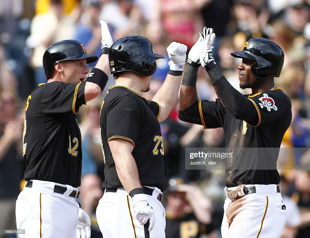 Starling Marte #6 of the Pittsburgh Pirates celebrates after hitting a two run home run in the third inning against the Washington Nationals during the game on May 4, 2013 at PNC Park in Pittsburgh, Pennsylvania.