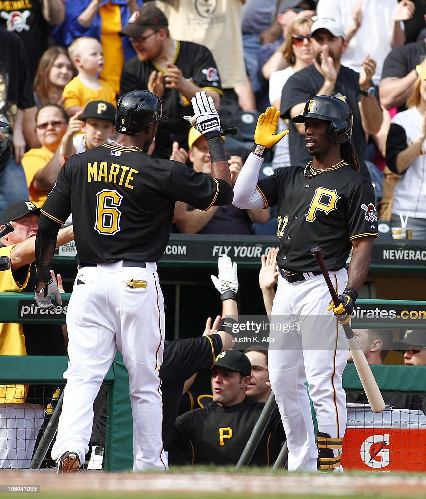 <a gi-track='captionPersonalityLinkClicked' href=/galleries/search?phrase=Starling+Marte&family=editorial&specificpeople=7934200 ng-click='$event.stopPropagation()'>Starling Marte</a> #6 of the Pittsburgh Pirates celebrates after hitting a two run home run in the third inning against the Washington Nationals during the game on May 4, 2013 at PNC Park in Pittsburgh, Pennsylvania.