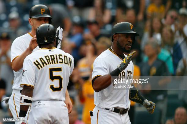 Starling Marte of the Pittsburgh Pirates celebrates after hitting a two run home run in the second inning against the St Louis Cardinals at PNC Park...