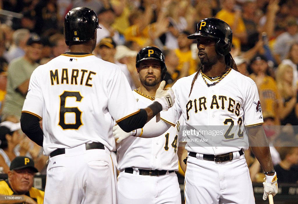 <a gi-track='captionPersonalityLinkClicked' href=/galleries/search?phrase=Starling+Marte&family=editorial&specificpeople=7934200 ng-click='$event.stopPropagation()'>Starling Marte</a> #6 of the Pittsburgh Pirates celebrates after scoring on a fifth inning RBI single against the St. Louis Cardinals during game two of a doubleheader on July 30, 2013 at PNC Park in Pittsburgh, Pennsylvania.
