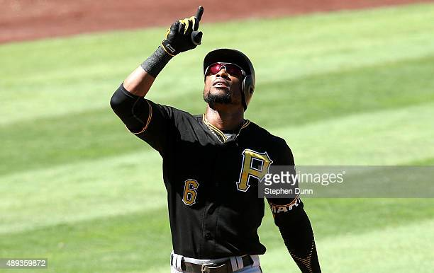 Starling Marte of the Pittsburgh Pirates celebrates as he crosses home afdter hitting a solo home run in the third inning against the Los Angeles...