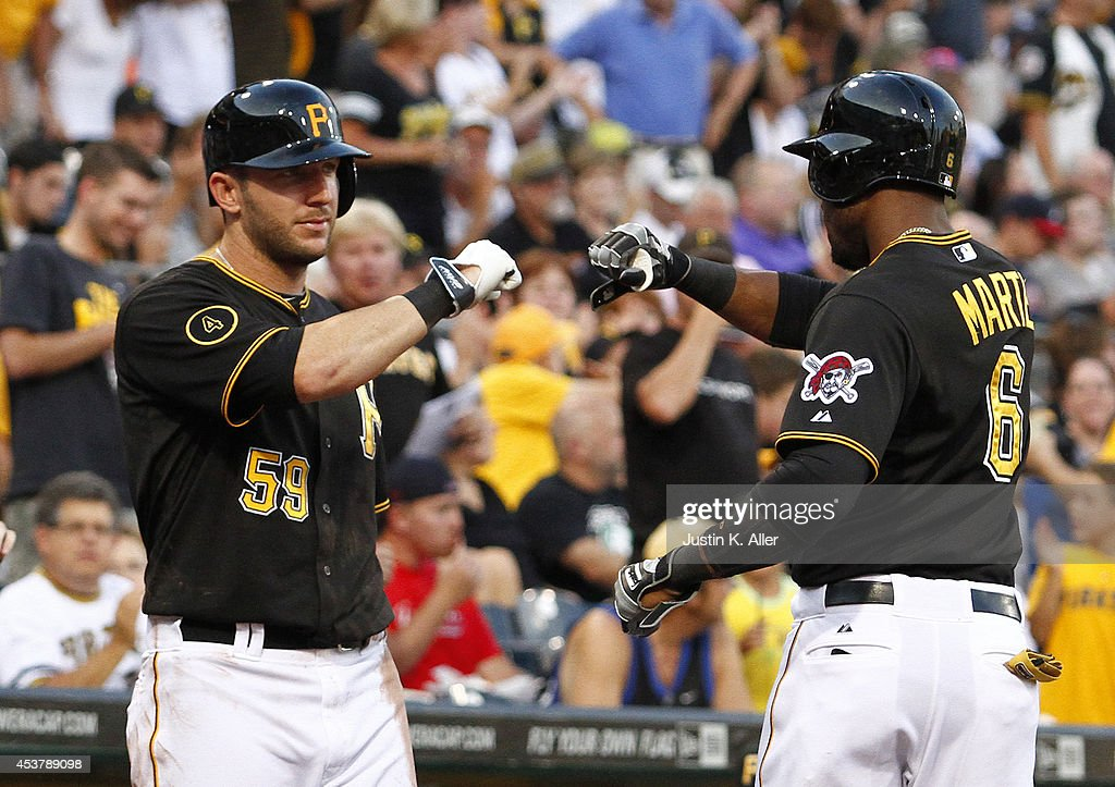 <a gi-track='captionPersonalityLinkClicked' href=/galleries/search?phrase=Starling+Marte&family=editorial&specificpeople=7934200 ng-click='$event.stopPropagation()'>Starling Marte</a> #6 of the Pittsburgh Pirates celebrates with <a gi-track='captionPersonalityLinkClicked' href=/galleries/search?phrase=Brent+Morel&family=editorial&specificpeople=6796477 ng-click='$event.stopPropagation()'>Brent Morel</a> #59 after hitting a home run in the second inning against the Atlanta Braves during the game at PNC Park on August 18, 2014 in Pittsburgh, Pennsylvania.