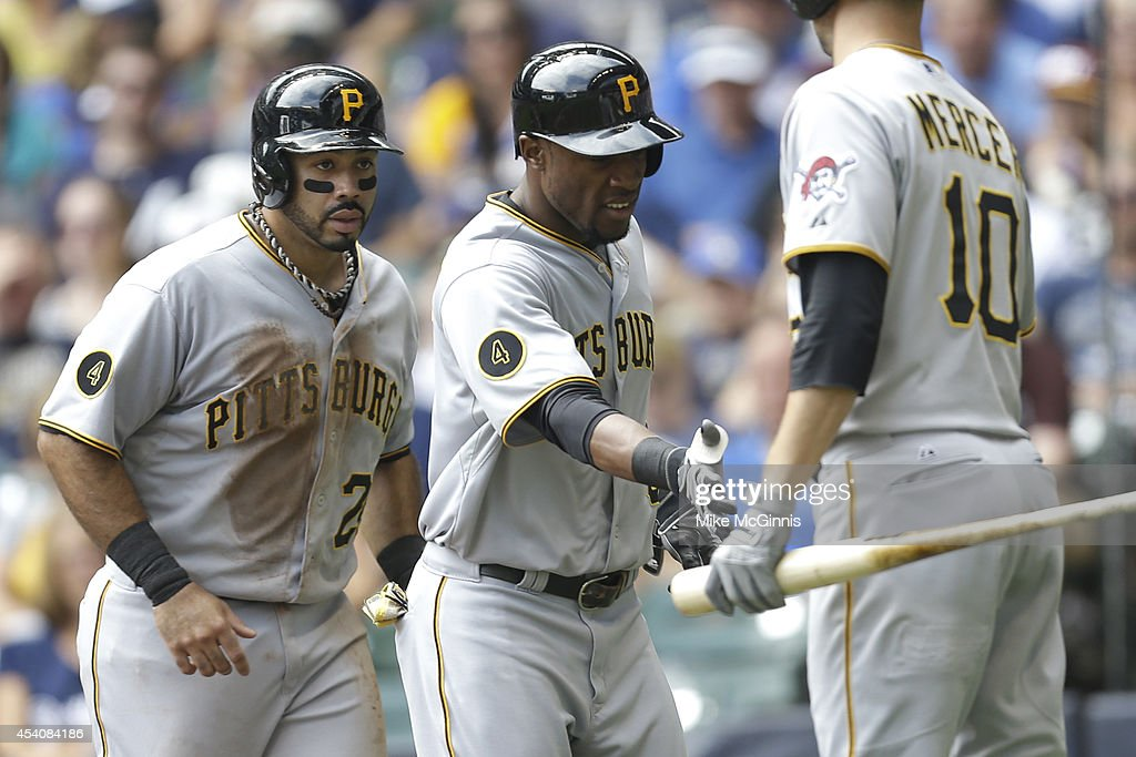 Starling Marte #6 of the Pittsburgh Pirates celebrates with Pedro Alvarez after hitting a two run homer in the top of the second inning against the Milwaukee Brewers at Miller Park on August 24, 2014 in Milwaukee, Wisconsin.