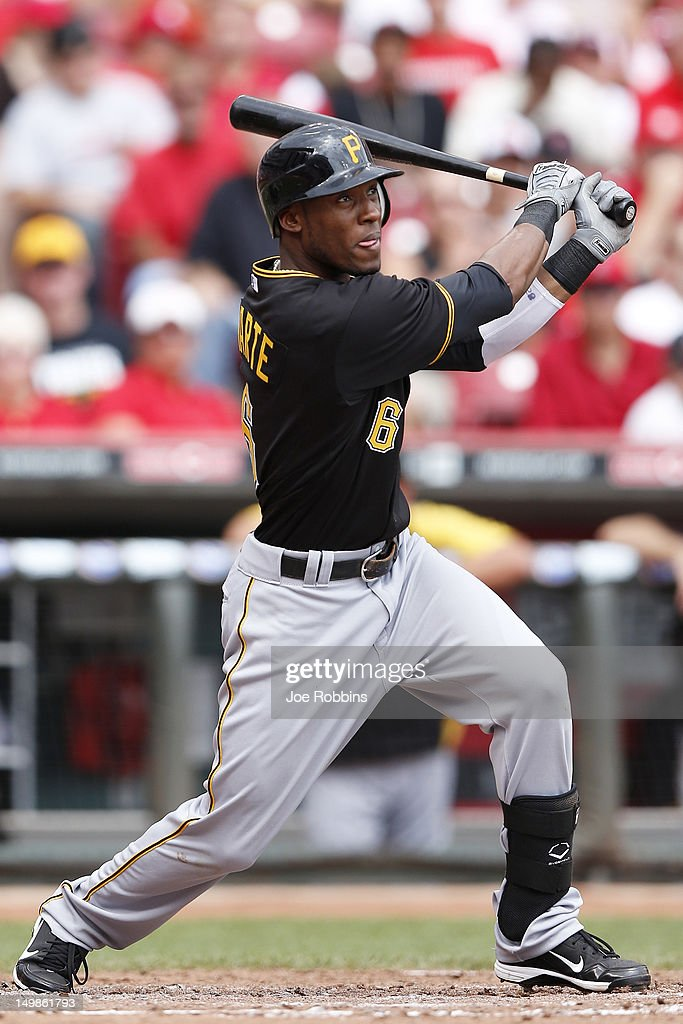 Starling Marte #6 of the Pittsburgh Pirates drives in two runs with a triple in the fourth inning of the game against the Cincinnati Reds at Great American Ball Park on August 5, 2012 in Cincinnati, Ohio. The Pirates won 6-2.
