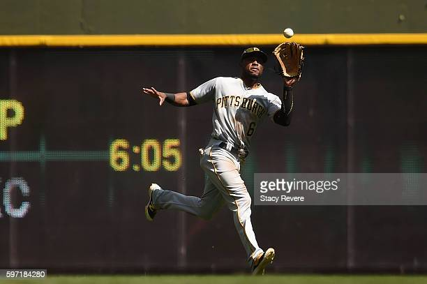 Starling Marte of the Pittsburgh Pirates fields a fly ball during the fourth inning of a game against the Milwaukee Brewers at Miller Park on August...