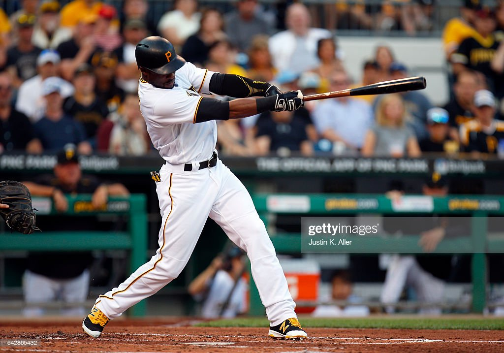 <a gi-track='captionPersonalityLinkClicked' href=/galleries/search?phrase=Starling+Marte&family=editorial&specificpeople=7934200 ng-click='$event.stopPropagation()'>Starling Marte</a> #6 of the Pittsburgh Pirates hits a RBI double in the second inning during the game against the Los Angeles Dodgers at PNC Park on June 24, 2016 in Pittsburgh, Pennsylvania.