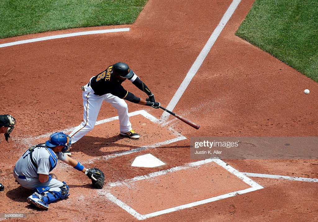<a gi-track='captionPersonalityLinkClicked' href=/galleries/search?phrase=Starling+Marte&family=editorial&specificpeople=7934200 ng-click='$event.stopPropagation()'>Starling Marte</a> #6 of the Pittsburgh Pirates hits a RBI single in the first inning during the game against the Los Angeles Dodgers at PNC Park on June 27, 2016 in Pittsburgh, Pennsylvania.