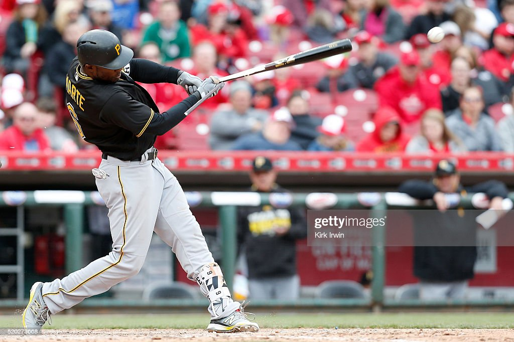 Starling Marte #6 of the Pittsburgh Pirates hits a single during the ninth inning of the game against the Cincinnati Reds at Great American Ball Park on April 10, 2016 in Cincinnati, Ohio. Cincinnati defeated Pittsburgh 2-1.