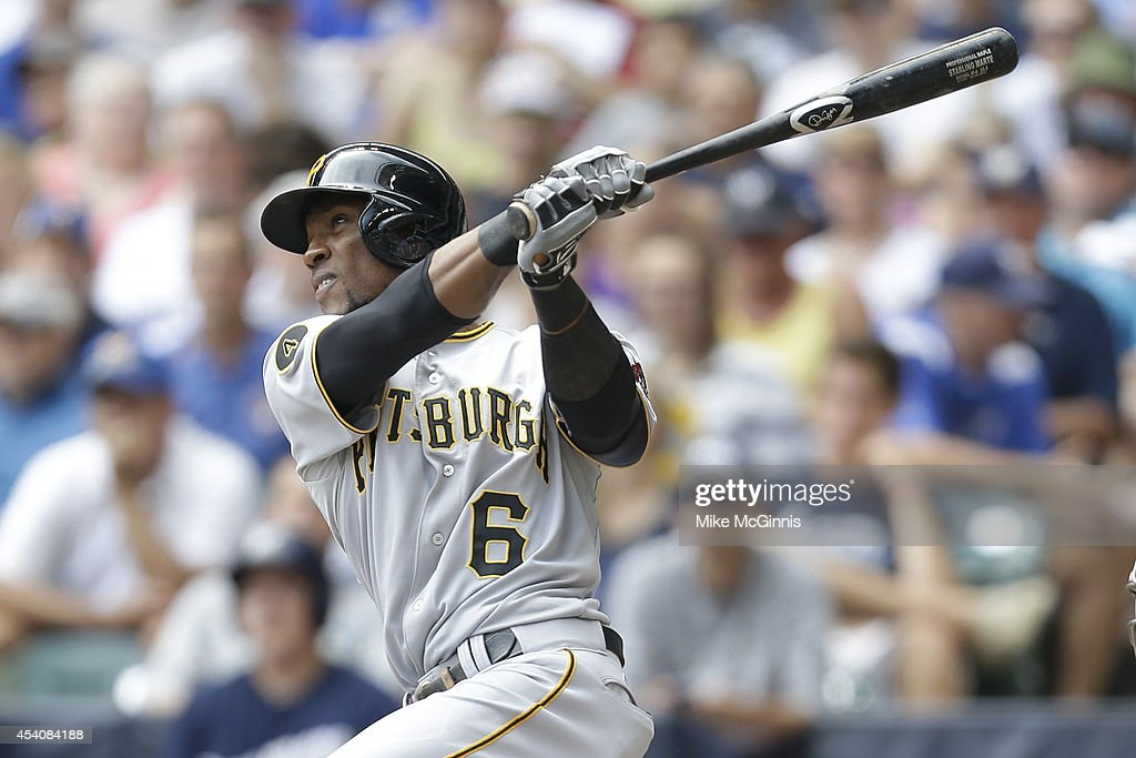 Starling Marte #6 of the Pittsburgh Pirates hits a two run homer in the top of the second inning against the Milwaukee Brewers at Miller Park on August 24, 2014 in Milwaukee, Wisconsin.